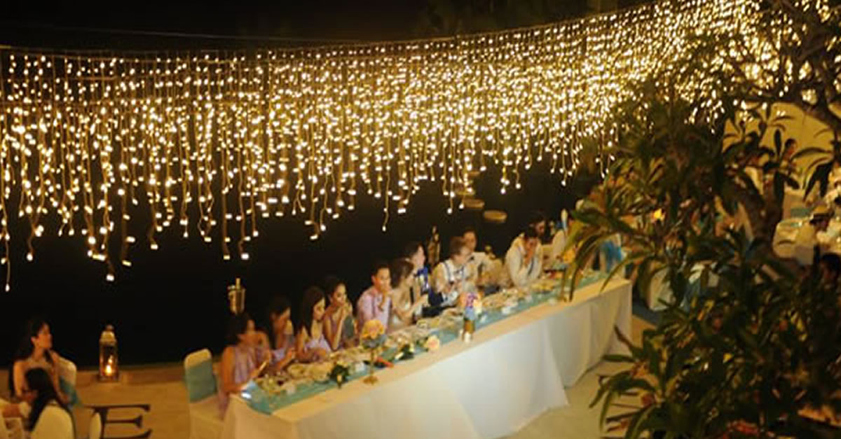 Fairy Light Curtain For Wedding Bali Vintage Florist