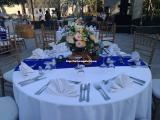 centerpiece with blue runner