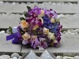 Purple orchid mix rose hand bouquet