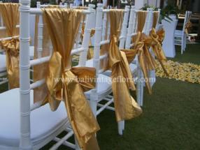 white tiffany with gold sash