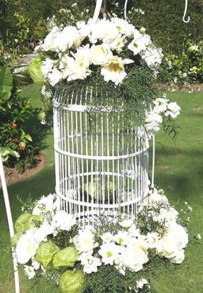bird cage standing flower