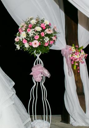 standing flower white iron stand